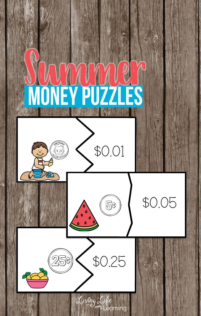 Learning about money? Try using these summer money puzzles to make learning about money fun. Match the coins and bills up to their dollar amounts with a fun hands-on way to learn math. Print out these summer money puzzles to have fun with your kids learning about money.