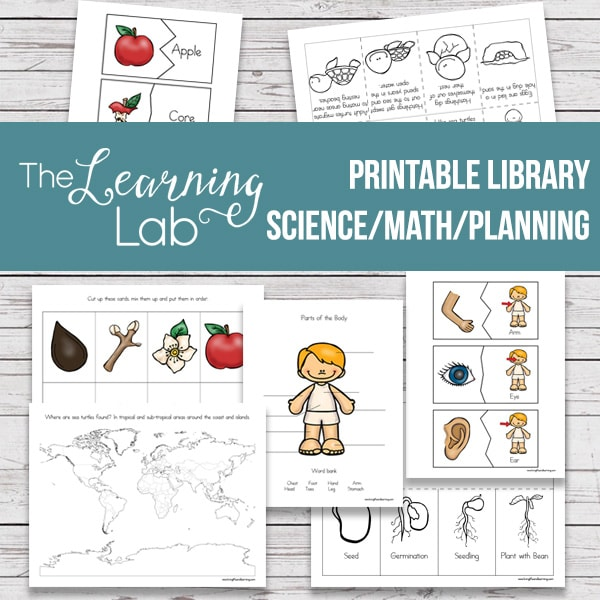 A printable library filled with science, math activities and planning sheets.