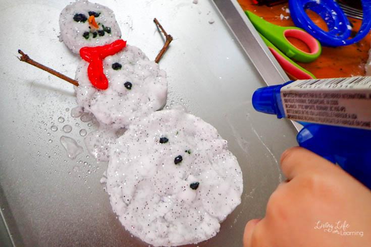 fizzy snowman baking soda and vinegar reaction