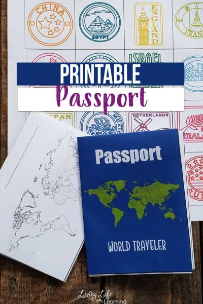 """Use this printable passport for kids as you """"visit"""" countries around the world so they can stamp their passport just like a real world traveler. Learning about geography and world cultures can be a blast and keep track by adding printable passport stamps to it. Get it now!"""