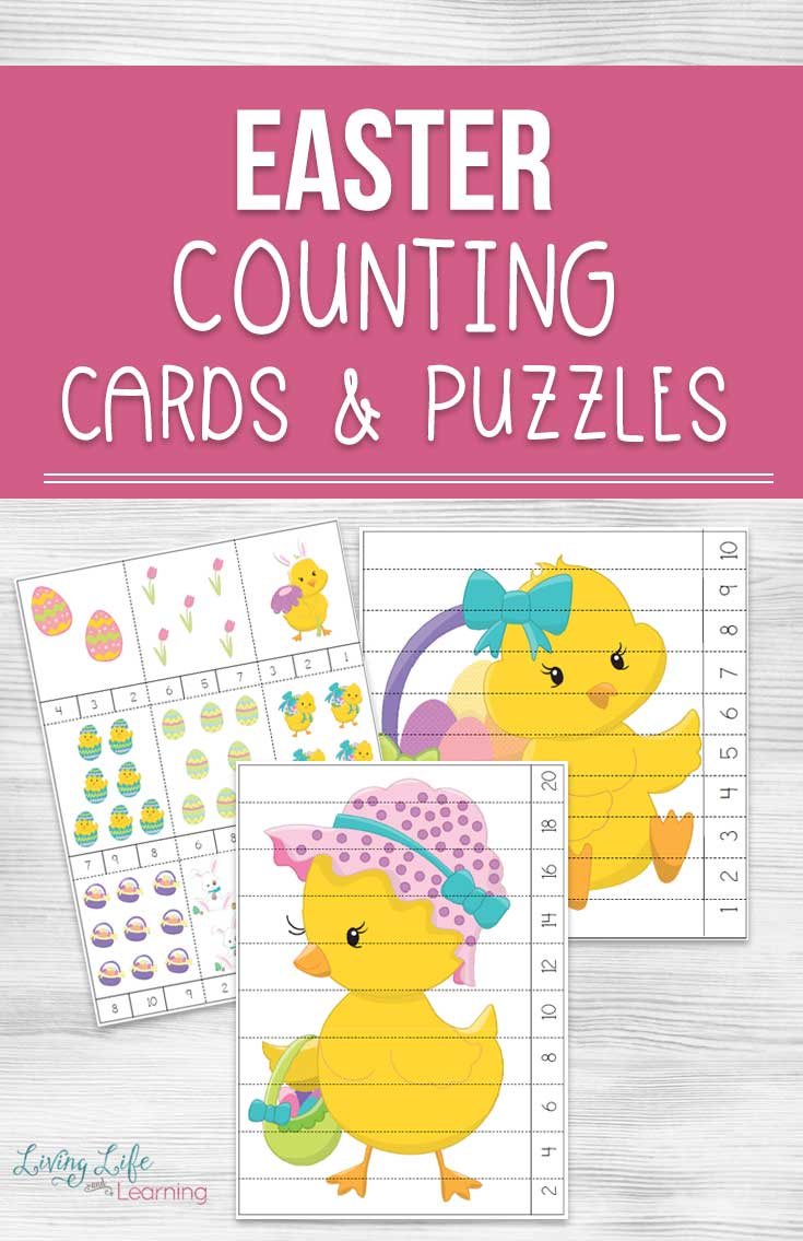 easter counting cards and puzzles