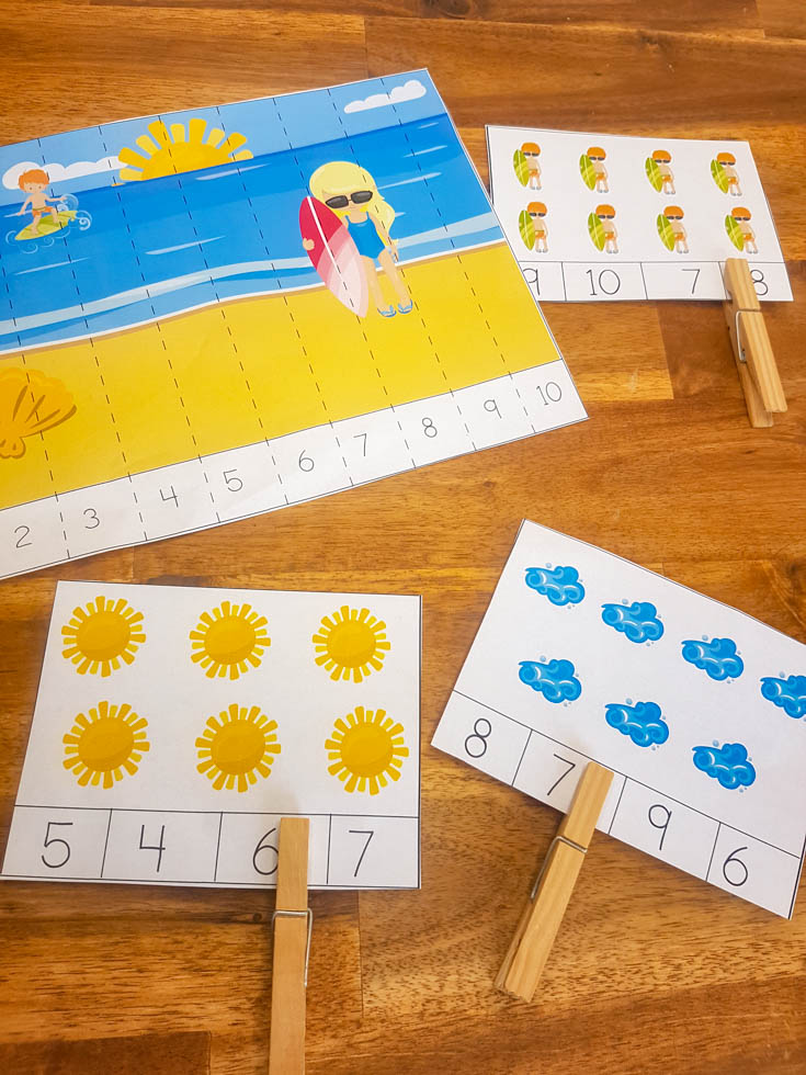 Summer Counting Cards and counting Puzzles on a wood table