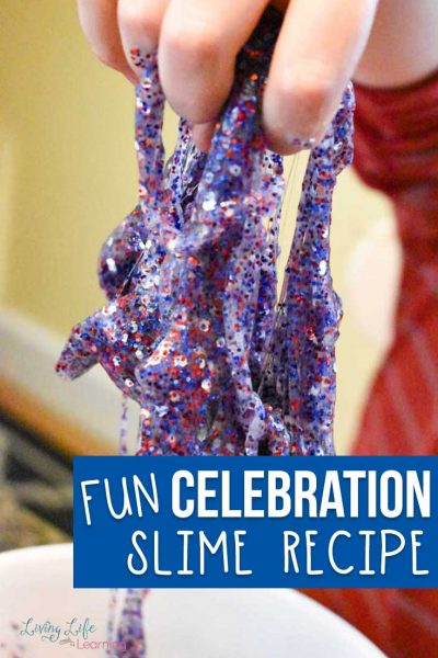 You'll love the ease and simplicity of this homemade Celebration slime recipe! Full of color and glitter, it's certain to be a crowd pleaser. Plus, it's great for summer birthdays, crafts or 4th of July fun! #slime #DIY #crafts