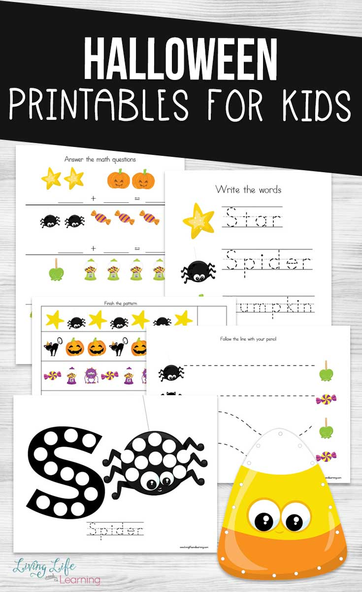 Are your students distracted by Halloween? Let these Halloween Printables for Kids get them excited about learning, with some spooky educational fun.  Perfect for preschoolers, kindergarteners, early elementary and homeschoolers.