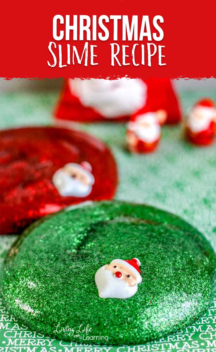 Make Christmas slime with red and green glitter!