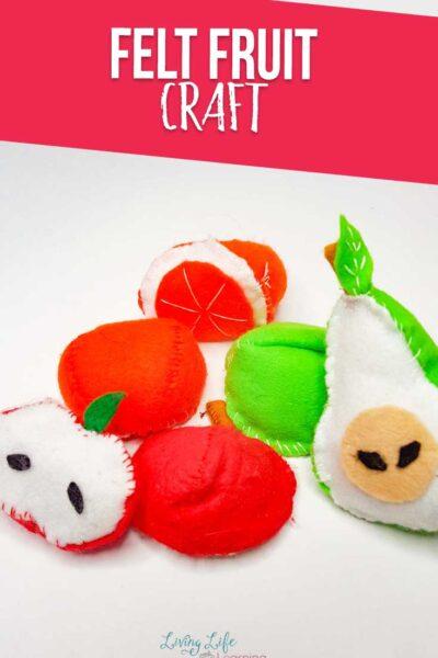 Felt fruit craft: apple, oranges and pears