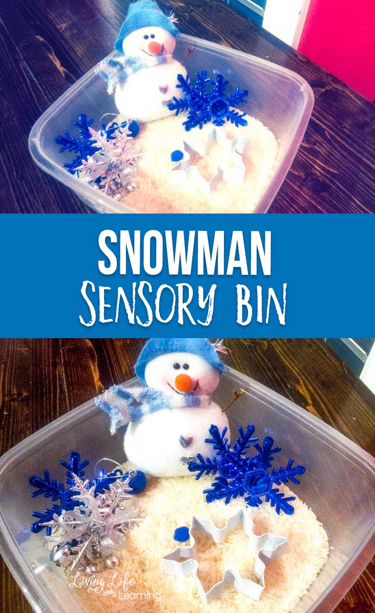 Simple snowman sensory bin for toddlers and preschoolers