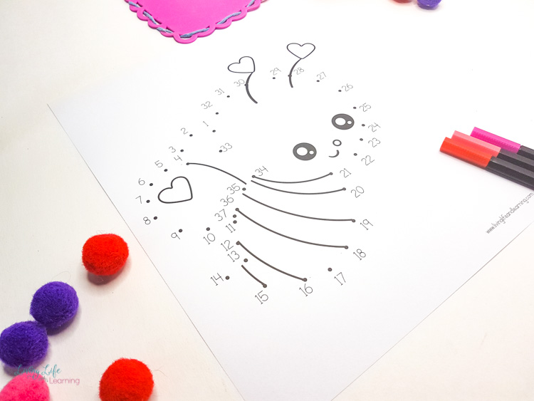 Valentines connect the dots printables