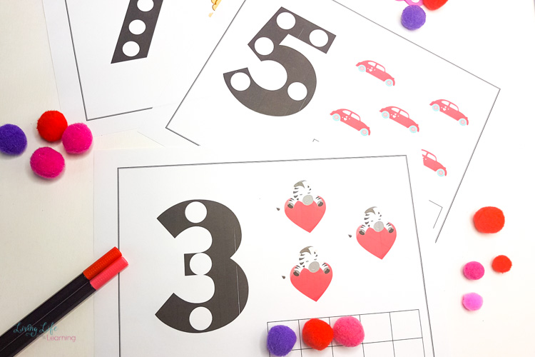 Valentines counting mats
