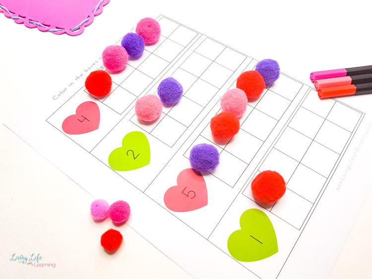Valentine's day ten frame worksheets for math