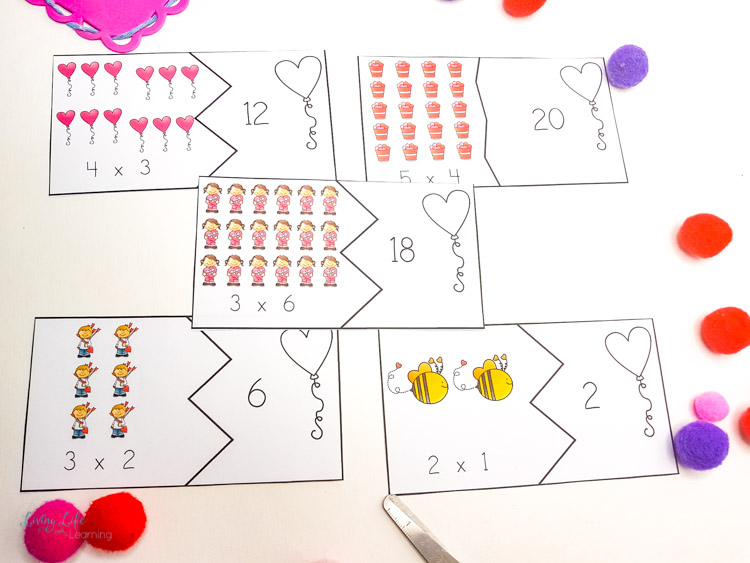 Printable Valentine's day multiplication puzzles