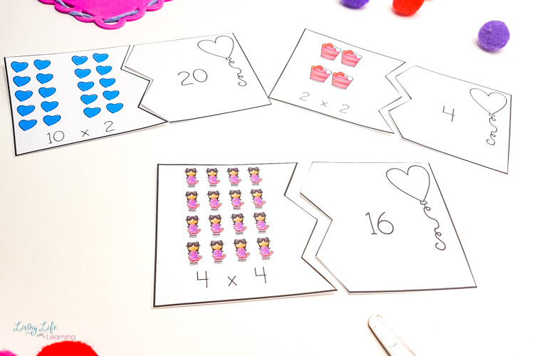 Valentines multiplication puzzles