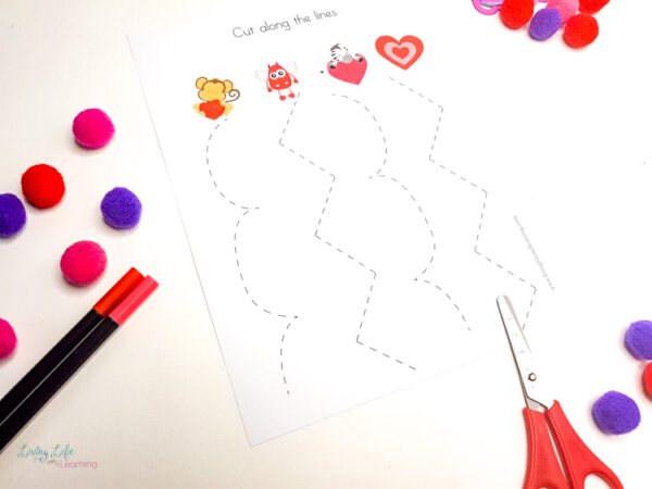 Valentines cutting practice worksheets