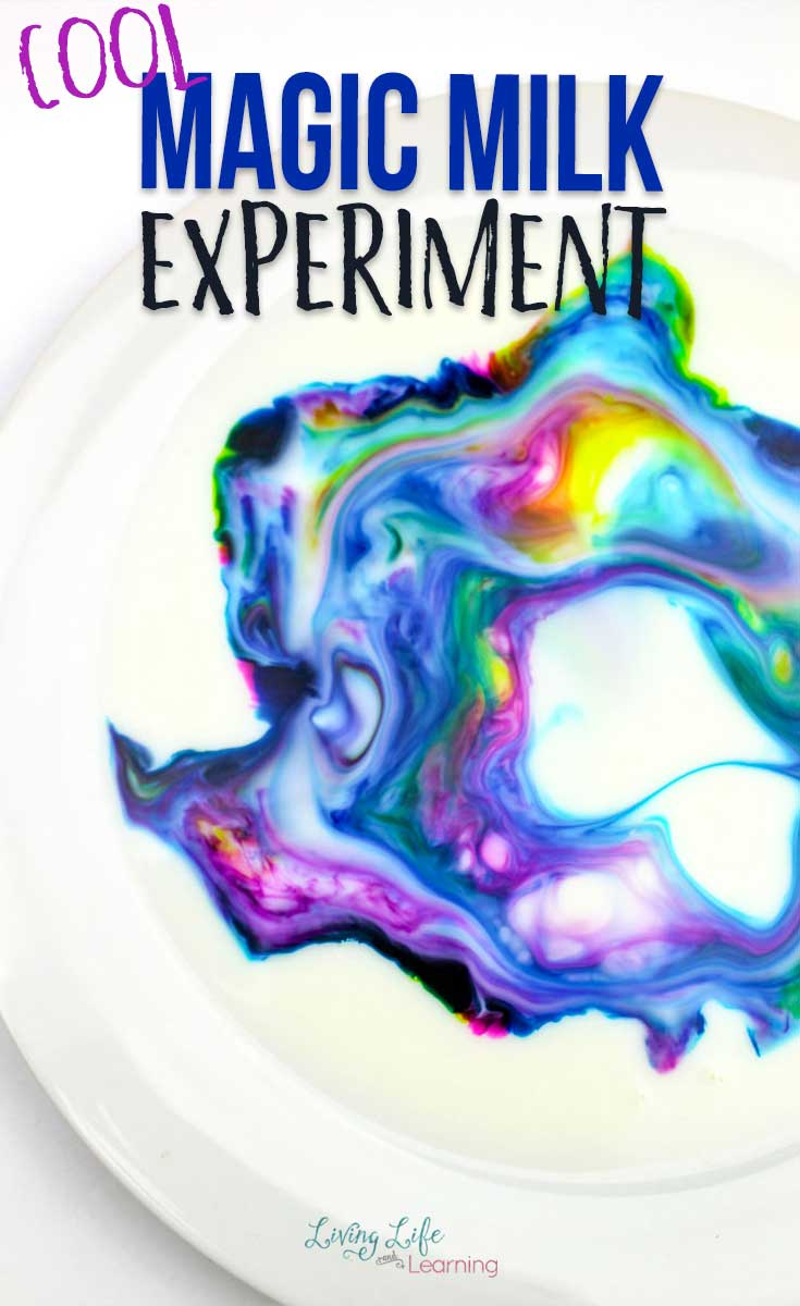 A cool magic milk experiment you have to try, with fun rainbow colors in milk in a bowl.