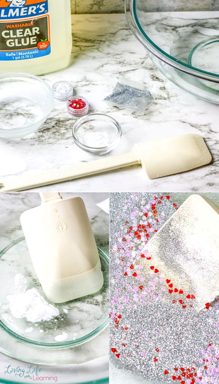 Valentine's day slime supplies