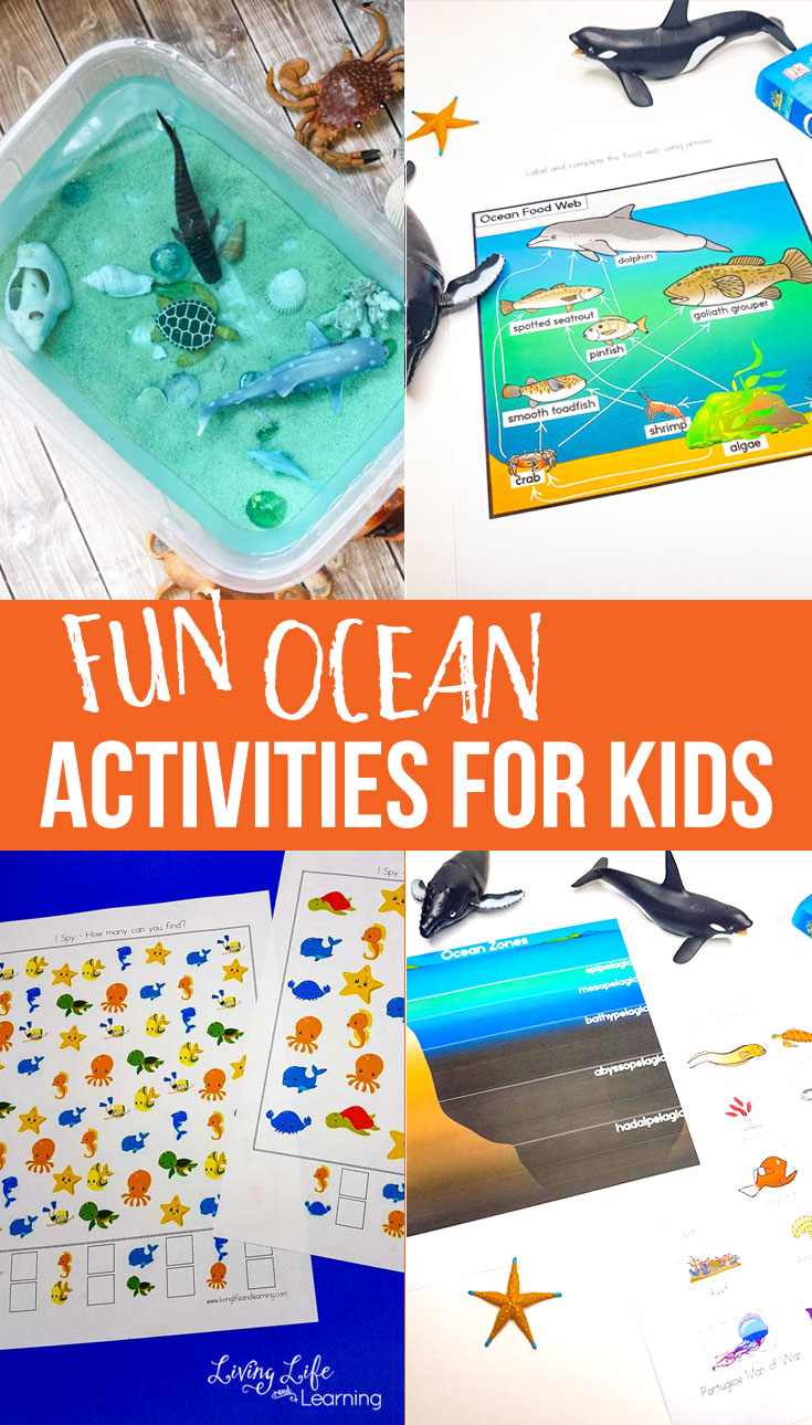 Sensory bins and colorful worksheets make fun ocean activities for kids.