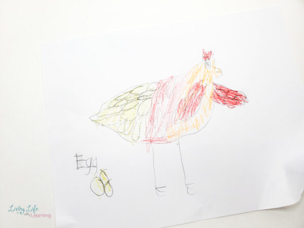 Drawing of a chicken by a child