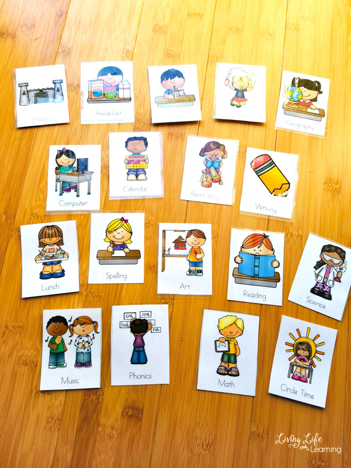 Visual homeschool schedule cards