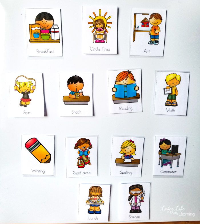 printable visual homeschool schedule cards with magnets on whiteboard