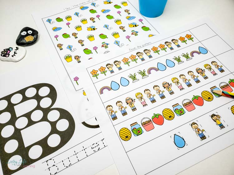 Spring learning printables for preschool and kindergarten