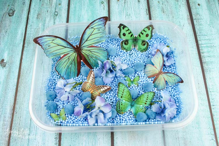 A complete easy butterfly sensory bin, with beads, pom poms and flowers in blue, and butterflies in green and yellow.