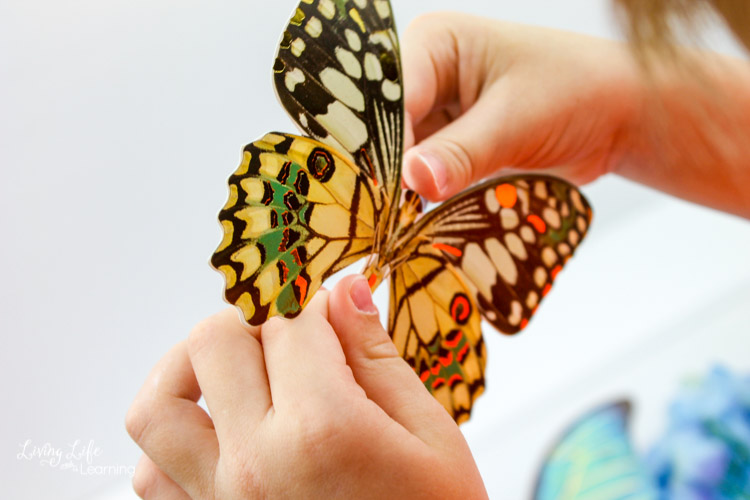 A yellow butterfly in a child's hands as part of the easy butterfly sensory bin.