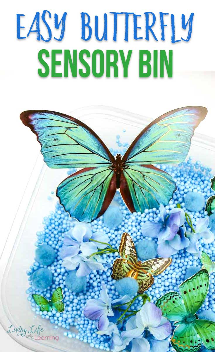 Easy butterfly sensory bin themed in blue beads and green butterflies.