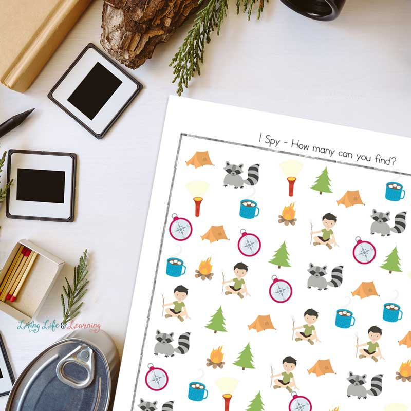 More difficult Camping I spy printable