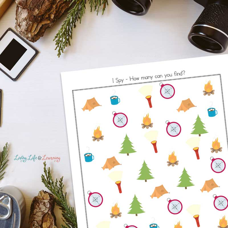 Simple Camping I Spy printable on desk