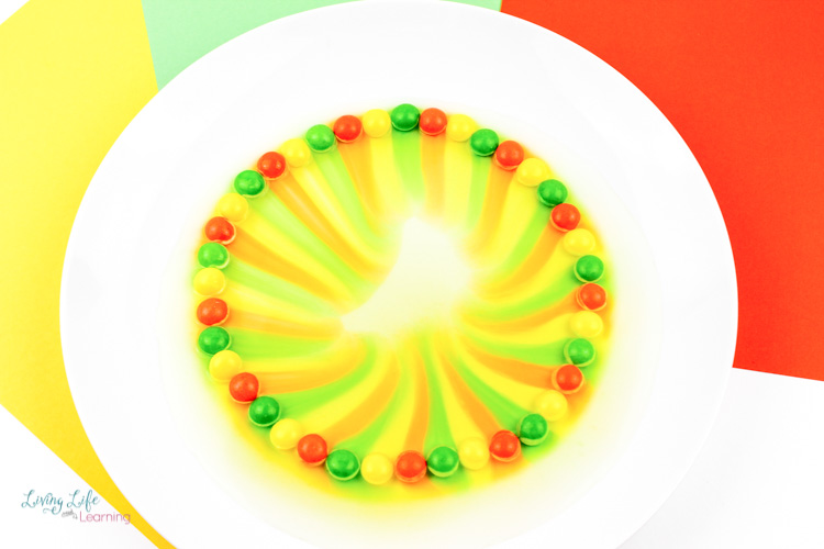 Skittles arranged in yellow, red and green pattern in this simple skittles experiment