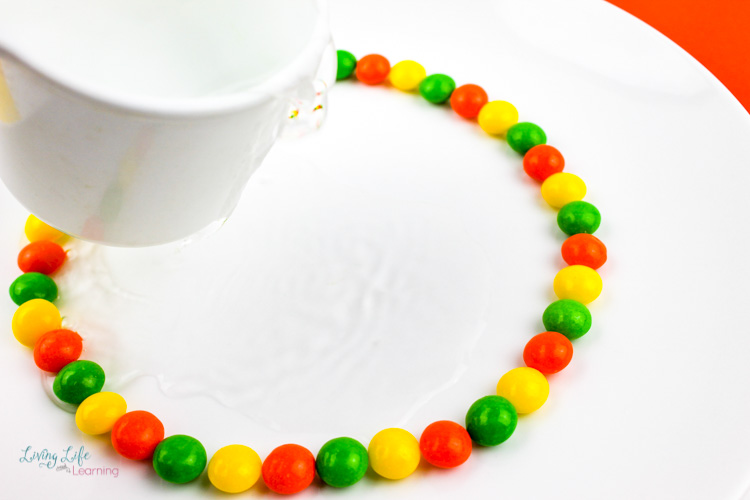Ready to pour the water over the skittles in this simple skittles experiment