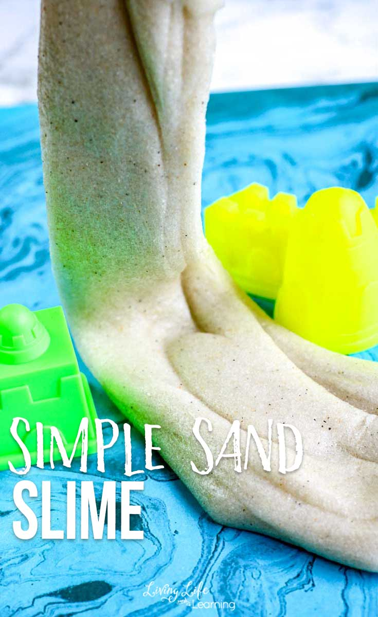 Bring the beach home with this super simple sand slime recipe. And combine science and fun for a great beach-themed activity for all ages!
