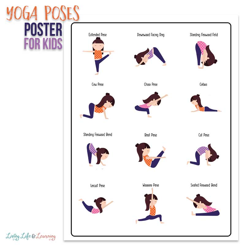 Yoga poses poster for kids