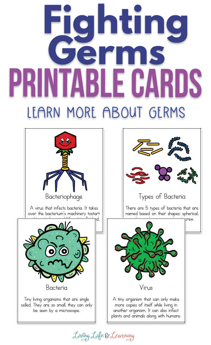 Nobody likes to get sick. So teach your kids about what germs are and how we should be fighting germs with these fun printable cards!