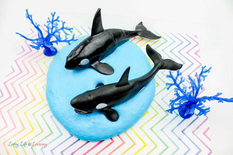 Orca whale toys with blue fluffy slime are a fun activity