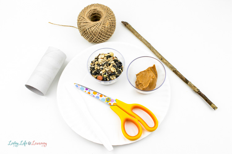 The supplies you need to create this diy bird feeder for kids.
