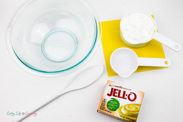 Supplies for jello colored play dough recipe