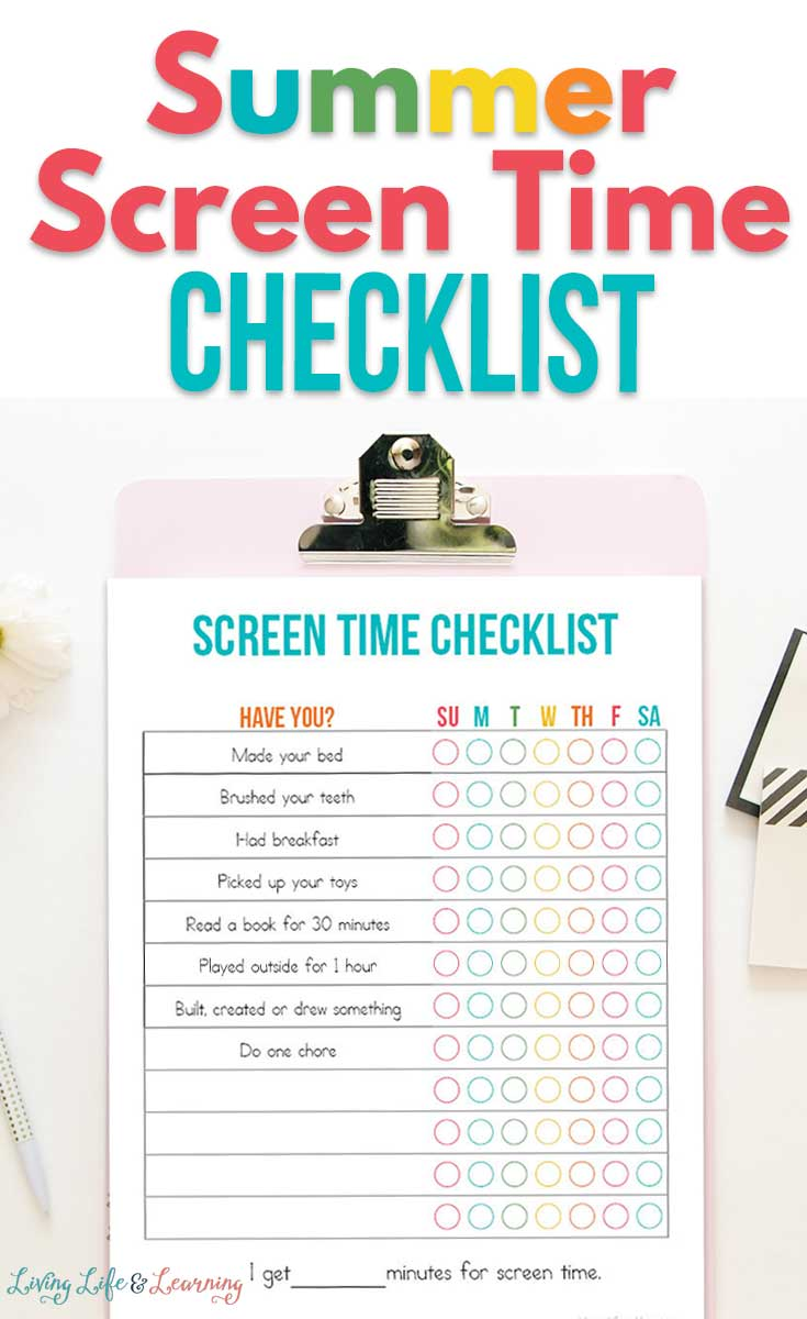 Summer Screen Time Checklist Printable
