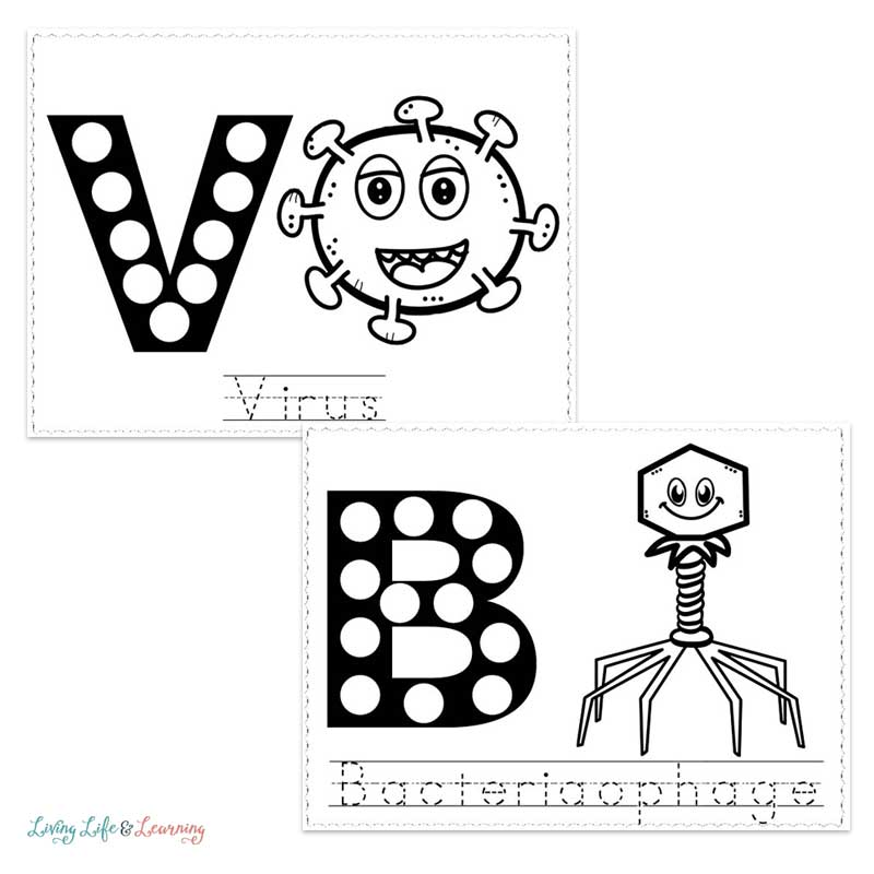 Virus dot coloring worksheets for preschool and kindergarten kids
