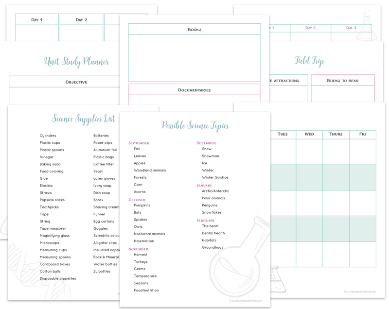 Free science unit planner