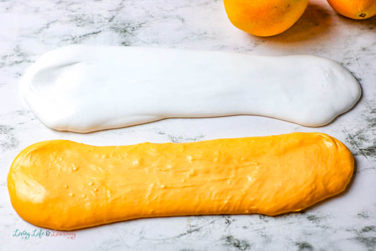 This wild orange cream slime recipe is actually two batches in one.