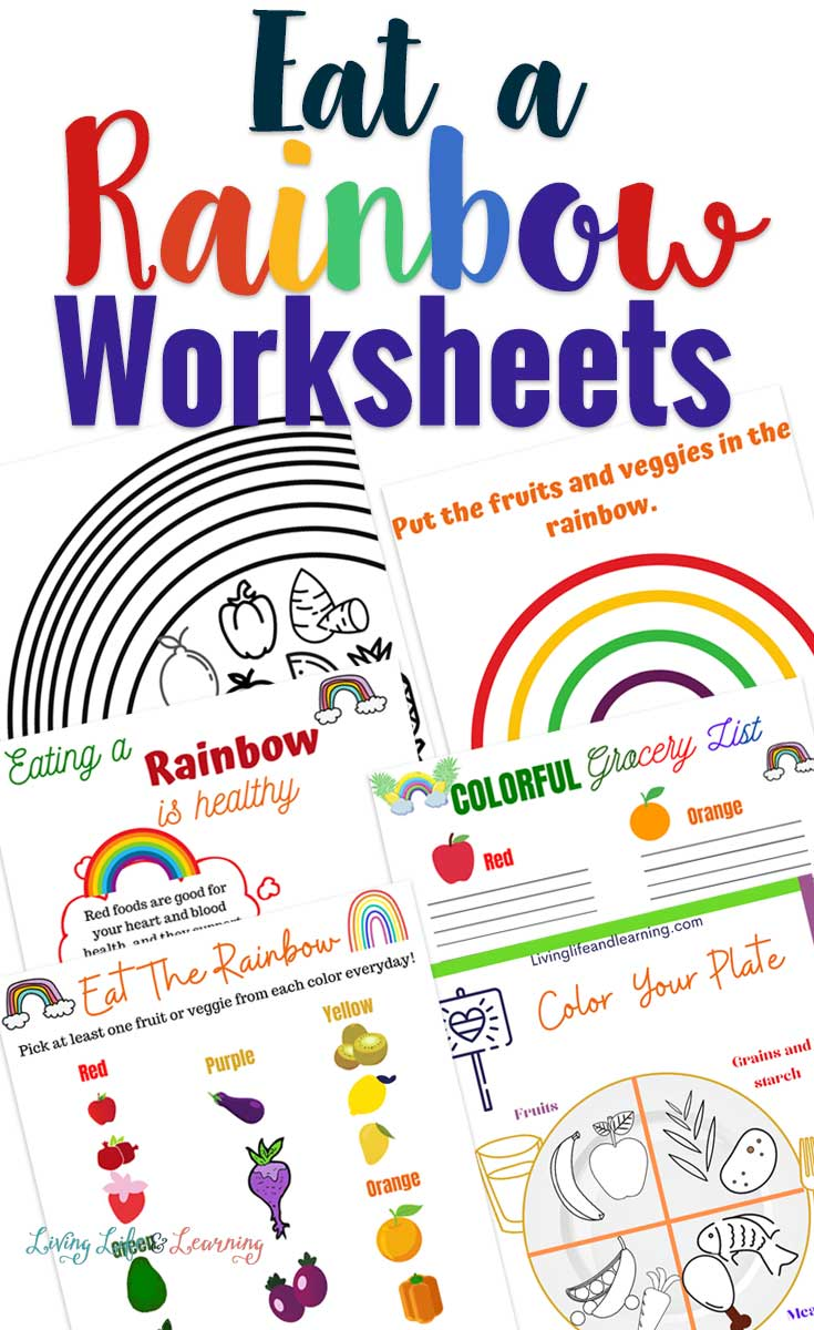Teach your kids healthy eating habits with these fun eat a rainbow worksheets. Challenge them to eat a rainbow every day and get them on the road to healthy food choices.