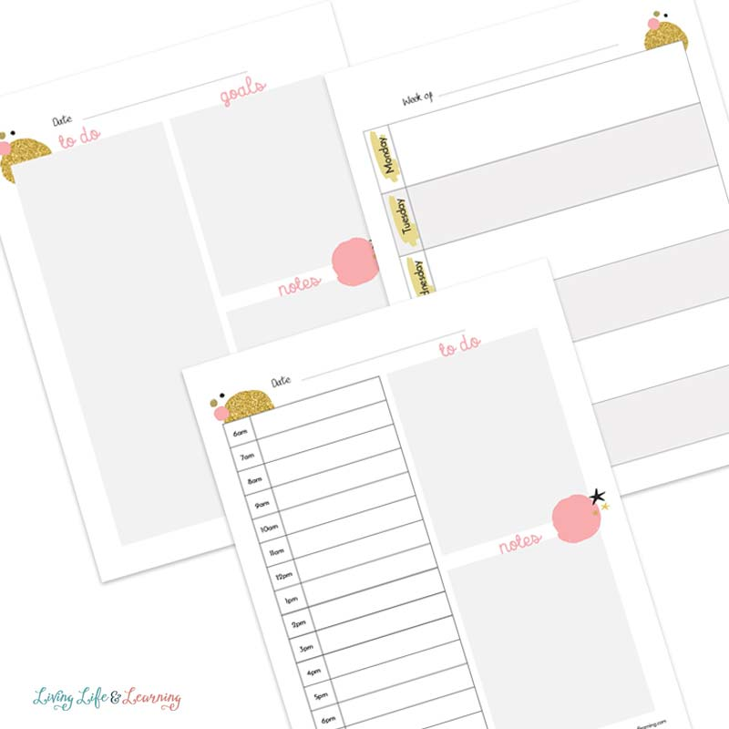 Homeschool daily planner pages