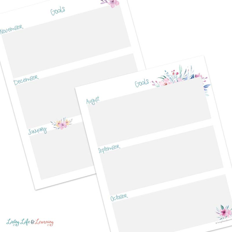 homeschool goal planning pages