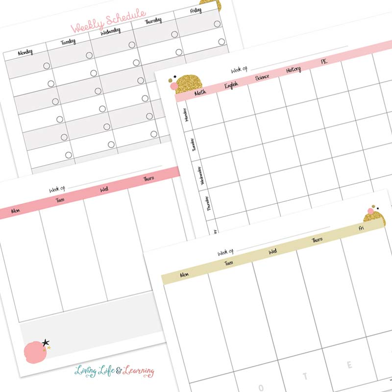 Weekly Homeschool Planner pages