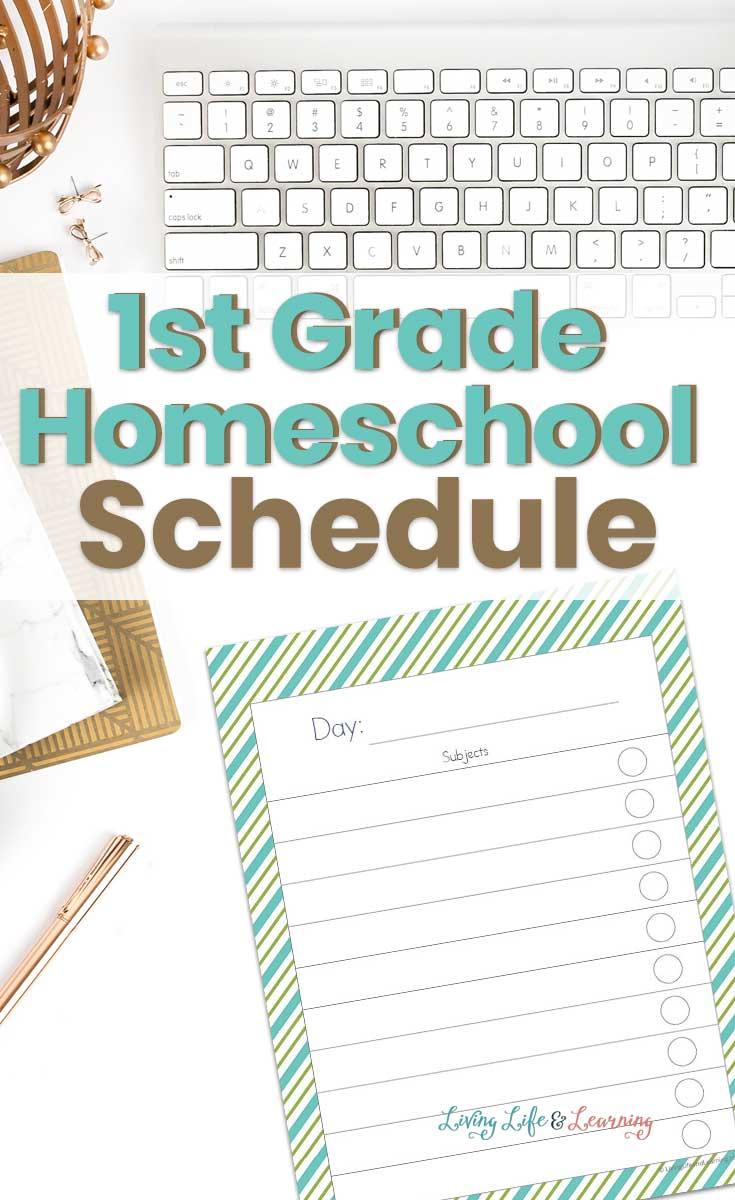 1st grade homeschool schedule printable on desk