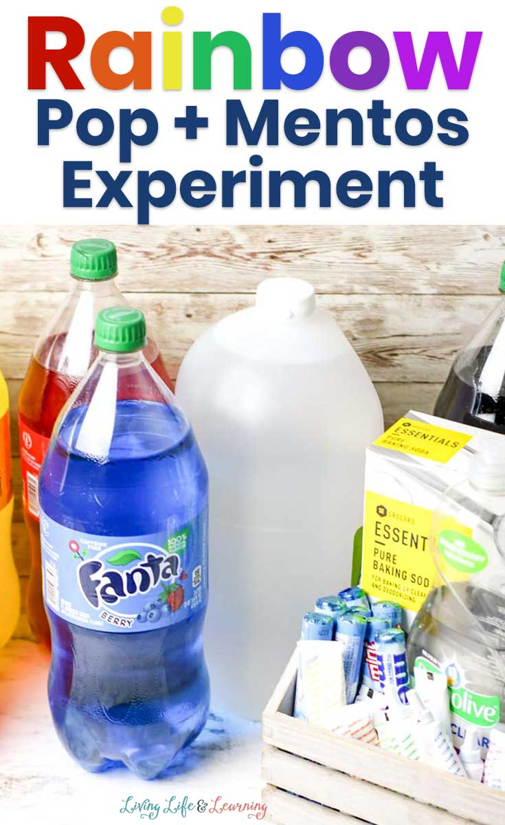 This experiment with Mentos and rainbow soda pop science is all ready to go.