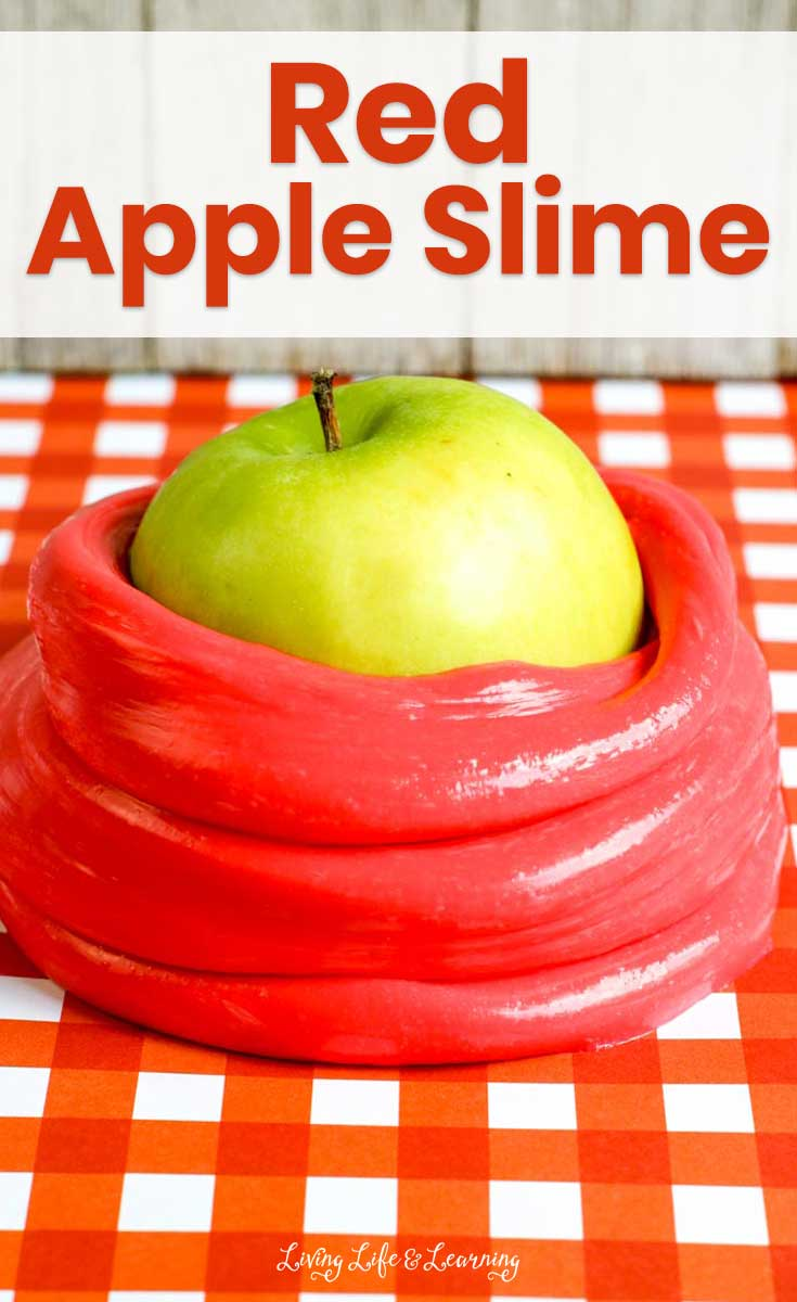 This red apple scented slime recipe kicks off the fall season with a colorful, sensory activity for kids.  The bright red scent of fresh apple and the soft, silky feel of the slime together make the perfect addition to your list of back to school activities.