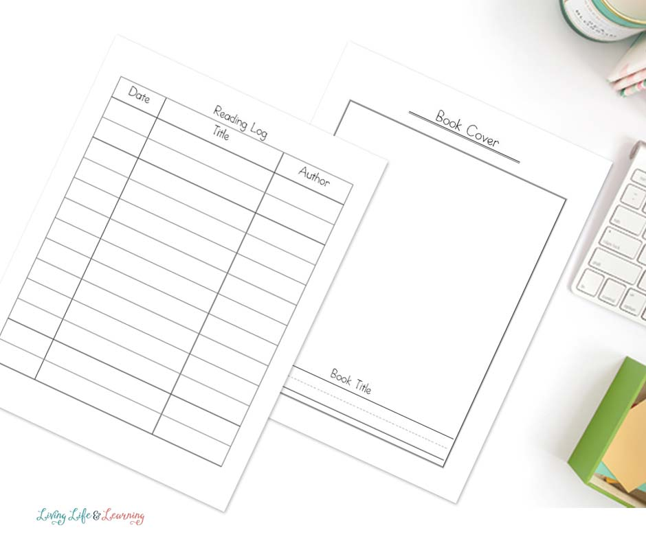 Book report printables on desk