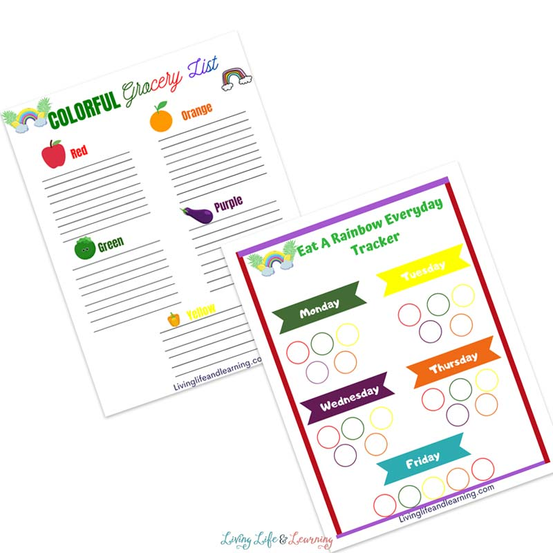 Track your fruits and vegetables with the eat a rainbow worksheet set.